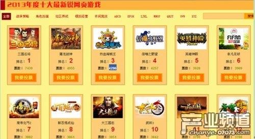 2013中国网页游戏风云榜第三周投票情况回顾图片